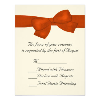 Naranja y crema que casan la tarjeta de RSVP Invitación Personalizada