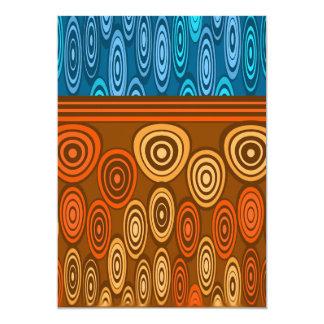 """Naranja y diseño azul invitación 5"""" x 7"""""""