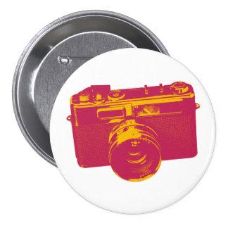 Naranja y diseño retro rojo de la cámara pin redondo de 3 pulgadas