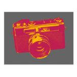 Naranja y diseño retro rojo de la cámara postal