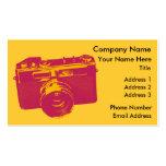 Naranja y diseño retro rojo de la cámara plantilla de tarjeta de negocio