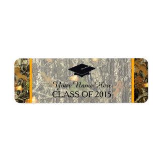 Naranja y etiqueta de la graduación de Camo Etiqueta De Remitente