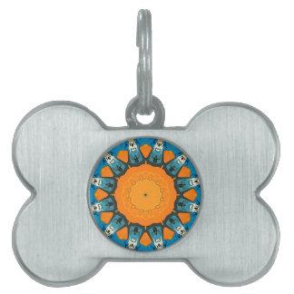 Naranja y extracto azul placas de mascota