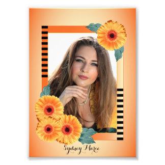 Naranja y floral decorativos - plantilla de la fotografía