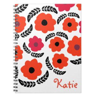 Naranja y floral rojo cuaderno
