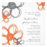 Naranja y flores salvajes grises que casan la invi