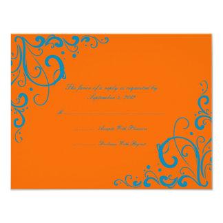 """Naranja y Flourish azul que casan RSVP Invitación 4.25"""" X 5.5"""""""