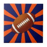Naranja y fútbol retro azul azulejo cerámica