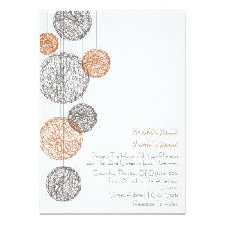 """Naranja y globos de la guita de Brown que casan la Invitación 5"""" X 7"""""""
