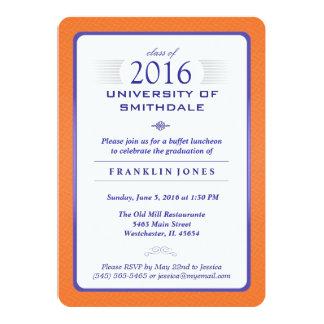 Naranja y invitación formal azul de la fiesta de