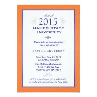 Naranja y invitación formal azul de la fiesta de invitación 12,7 x 17,8 cm