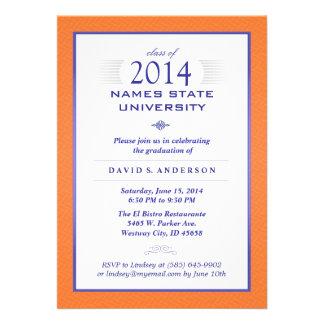 Naranja y invitación formal azul de la fiesta de g