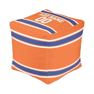 Naranja y jersey personalizado azul de los pouf cuadrado