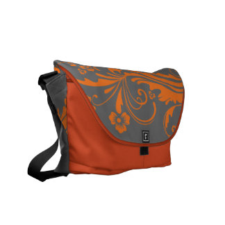 Naranja y moda floral gris bolsas de mensajeria
