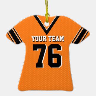 Naranja y negro del jersey del fútbol adorno de cerámica en forma de camiseta