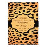 Naranja y negro del leopardo - el cumpleaños invitación 12,7 x 17,8 cm