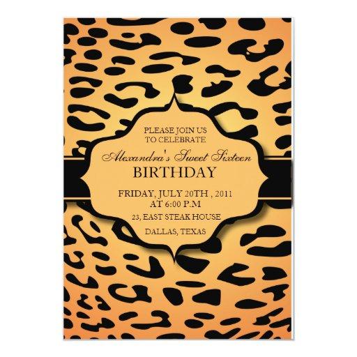 """Naranja y negro del leopardo - el cumpleaños invitación 5"""" x 7"""""""