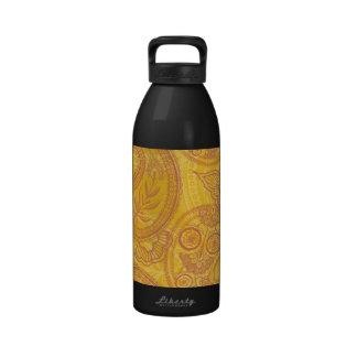 Naranja y oro brillantes Paisley Botella De Agua