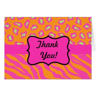 Naranja y personalizado rosado fucsia de la cebra tarjeta de felicitación