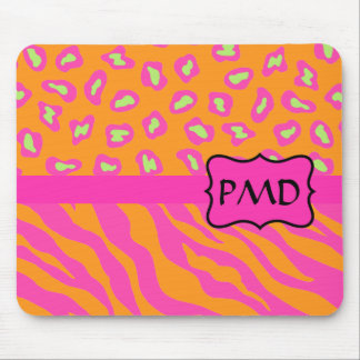 Naranja y personalizado rosado fucsia de la piel d tapete de ratones