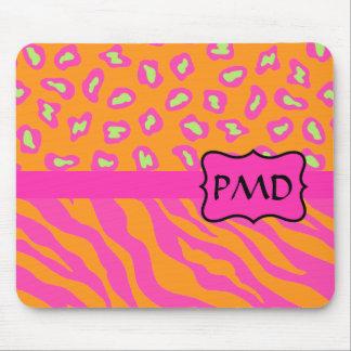 Naranja y personalizado rosado fucsia de la piel alfombrillas de raton