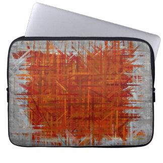 Naranja y pintura gris del arte abstracto fundas computadoras