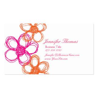 Naranja y planificador del boda del Wildflower de Plantillas De Tarjetas De Visita