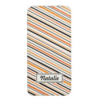 Naranja y rayas negras conocidos personalizados funda acolchada para móvil