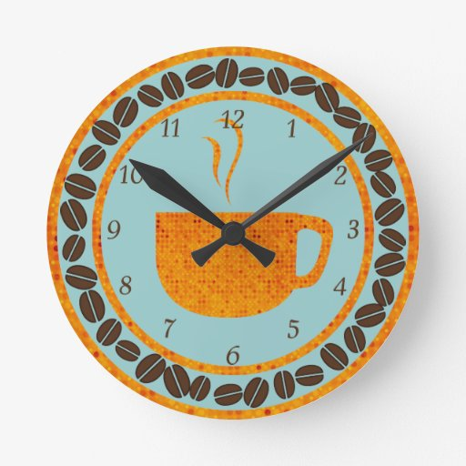 Naranja y trullo del café de la taza O Reloj Redondo Mediano
