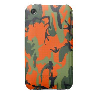 Naranja y verde Camo de la seguridad iPhone 3 Fundas