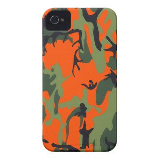 Naranja y verde Camo de la seguridad iPhone 4 Case-Mate Funda
