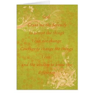 Naranja y verde del rezo de la serenidad tarjeta de felicitación