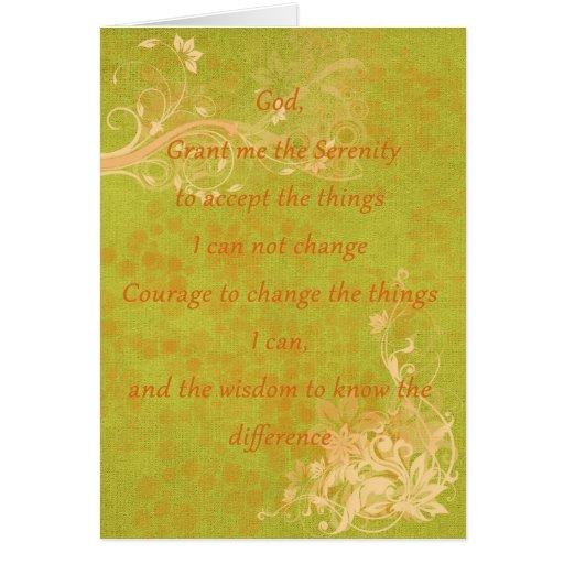 Naranja y verde del rezo de la serenidad felicitacion