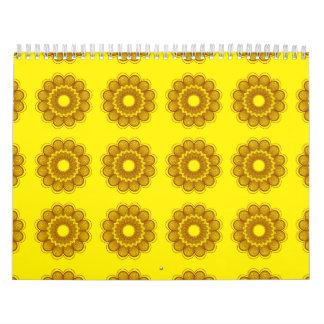 Naranjas amarillos del estampado de plores calendarios de pared