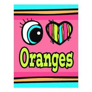 "Naranjas brillantes del amor del corazón I del ojo Folleto 8.5"" X 11"""