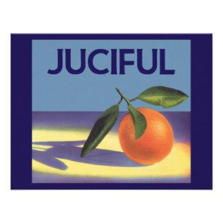 Naranjas de Juciful arte de la etiqueta del cajón Invitaciones Personalizada