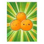 Naranjas de Kawaii Postales