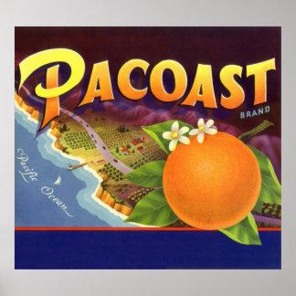 Naranjas de Pacoast arte de la etiqueta del cajón Impresiones