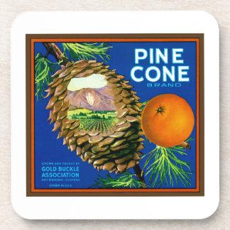 Naranjas del cono del pino posavasos de bebidas