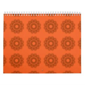 Naranjas del estampado de plores calendario