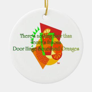 Naranjas exprimidos de la bisagra de puerta adorno navideño redondo de cerámica