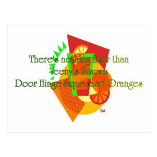 Naranjas exprimidos de la bisagra de puerta postal