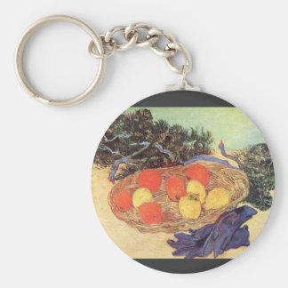 naranjas, limones y guantes azules de Van Gogh Llavero Redondo Tipo Pin