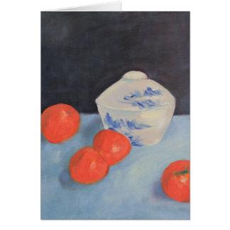 Naranjas y caquis tarjeta pequeña