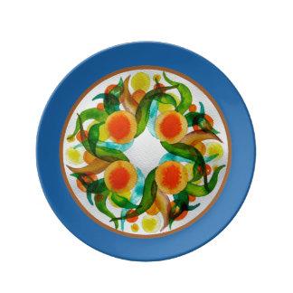 Naranjas y limones - azul plato de cerámica