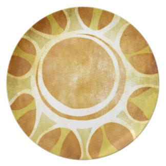Naranjas y limones - batik de oro del girasol platos de comidas