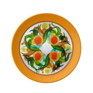 Naranjas y limones platos de cerámica