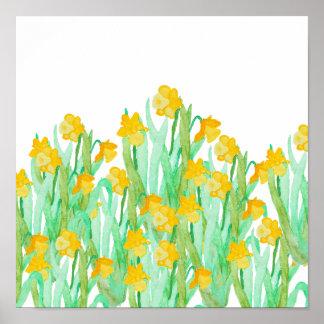 Narciso amarillo dibujado mano linda de la póster