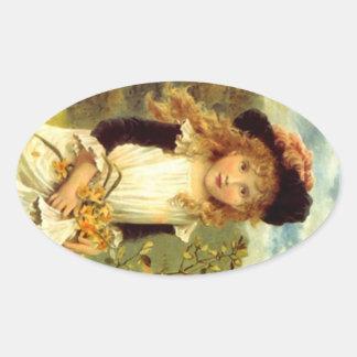 Narciso del chica del delantal del Victorian del Pegatina Ovalada