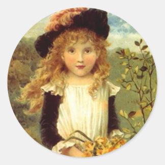 Narciso del chica del delantal del Victorian del Pegatina Redonda